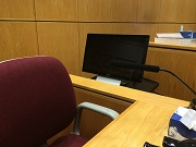 Picture of touch screen monitor at the witness stand