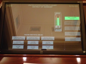 Podium's touch screen monitor